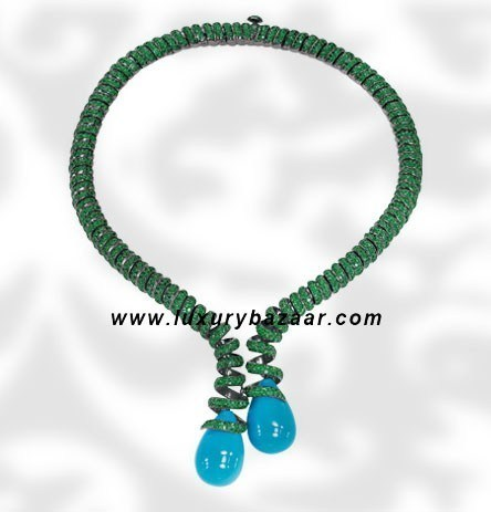 Drops Turquoise and Emerald White Gold Necklace