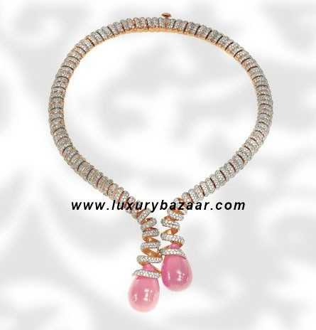 Drops Coral and Diamond Yellow Gold Necklace