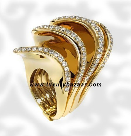 Folded 4 Band Diamond Yellow Gold Ring