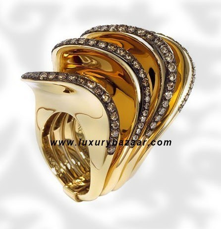 Folded 4 Band Brown Diamond Yellow Gold Ring