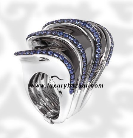 Folded 4 Band Blue Sapphire White Gold Ring