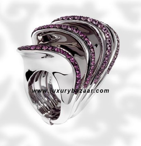 Folded 4 Band Purple Sapphire White Gold Ring
