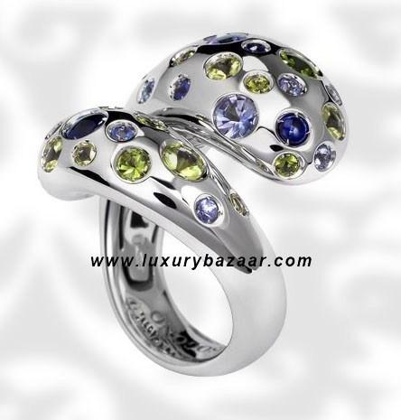 Contrario Sapphire Tsavorite Peridot White Gold Ring