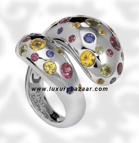 Contrario Sapphire Rhodolite Peridot White Gold Ring