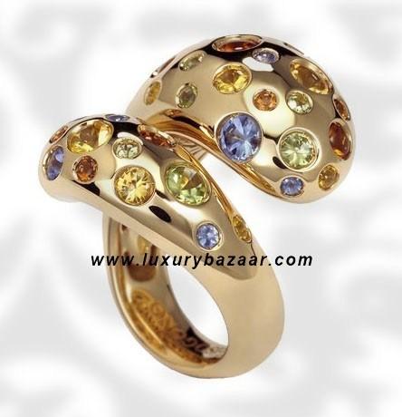 Contrario Sapphire Spessarite Peridot Yellow Gold Ring