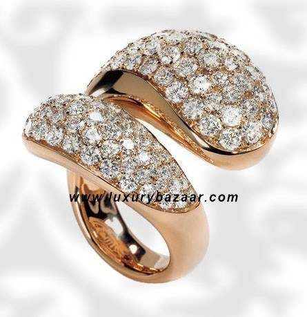 Contrario Full Diamond Pink Gold Ring