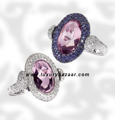Reversible Diamond and Sapphire Kunzite White Gold Ring