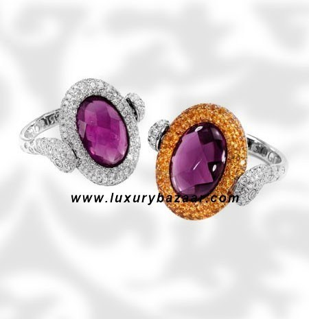 Reversible Diamond and Sapphire Amethyst White Gold Ring