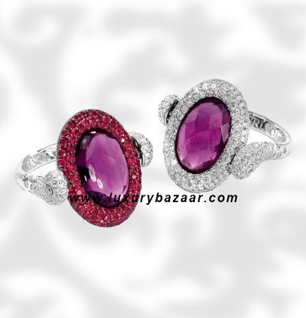 Reversible Diamond and Ruby Amethyst White Gold Ring