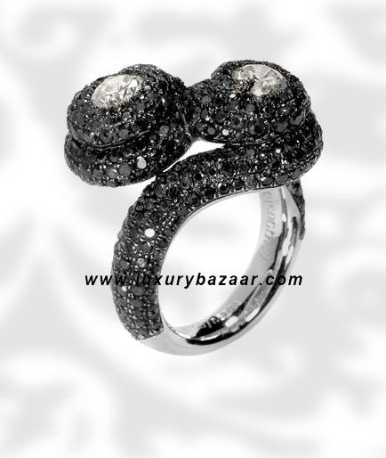Black Diamond Black and White Diamond White Gold Ring