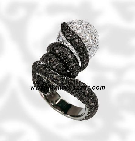 Spiral Ball Black and White Diamond White Gold Ring