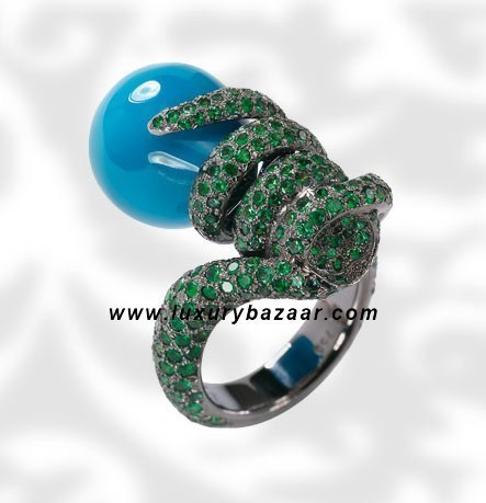 Drops Turquoise and Emerald White Gold Ring