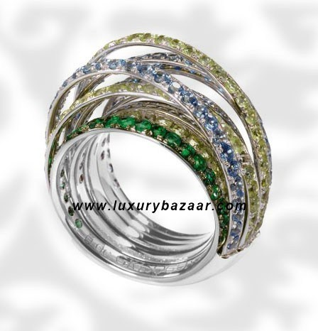 Allegra White Gold Topaz Aquamarine Peridot Emeral Ring