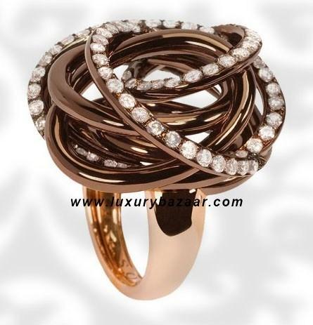 Matassa Diamond Brownished Pink Gold Ring