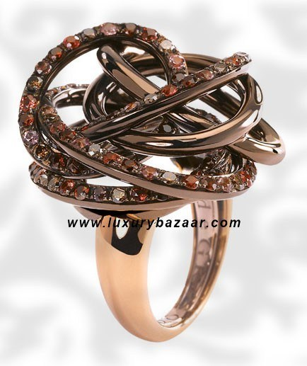 Browny Brown Diamond Gem Stone Brownished Pink Gold Ring