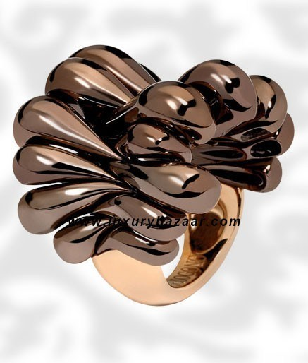 Browny Brown Folded Brownished Pink Gold Ring