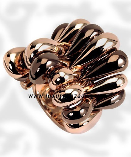 Browny Brown Folded Brownished Pink and Pink Gold Ring