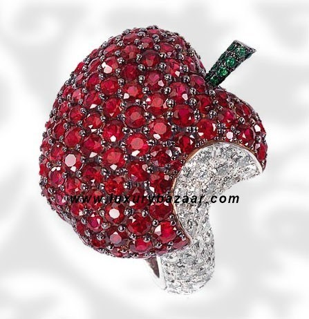 Apple Ruby Emerald and Diamond White Gold Ring