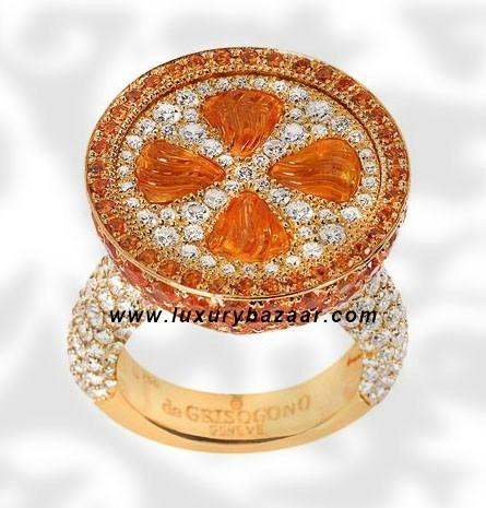 Orange Sapphire and Diamond Yellow Gold Ring