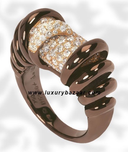 Browny Brown Spiral Diamond Brownished Pink Gold Ring