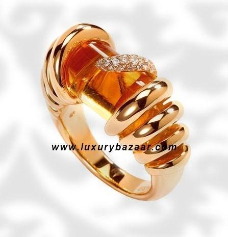 Cylinder Cut Citrine Diamond Polished Yellow Gold Ring