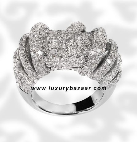 Cylinder Ring Full Pave 4 Carat Diamond White Gold Ring