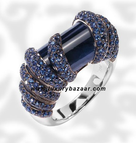 Cylinder Cut Blue Sapphire White Gold Ring