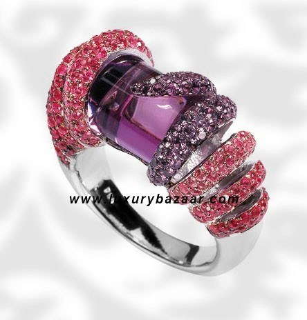 Cylinder Cut Amethst Ruby and Amethyst White Gold Ring