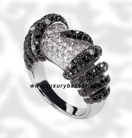 Cylinder Ring Black and White Diamond White Gold Ring