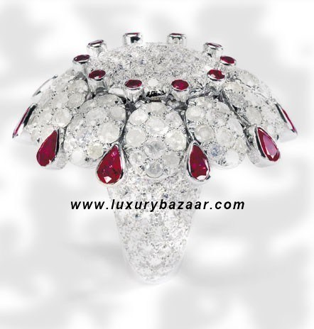 Icy Diamond Ruby and Icy Diamond White Gold Ring
