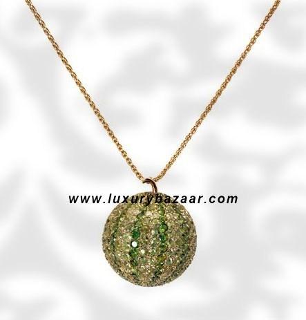 Melon Pendant Tsavorite Peridot and Sapphire Yellow 7