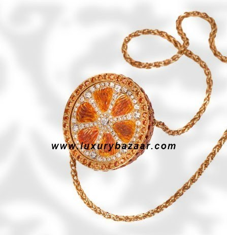 Orange Pendant Sapphire and Diamond Yellow Gold Necklace
