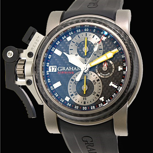 Oversized Chronofighter Airwing Black Carbon (Titanium-Carbon / Grey / Rubber Strap)