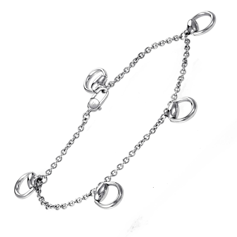 Women's 18K White Gold Horsebit Charm Bracelet 05075577