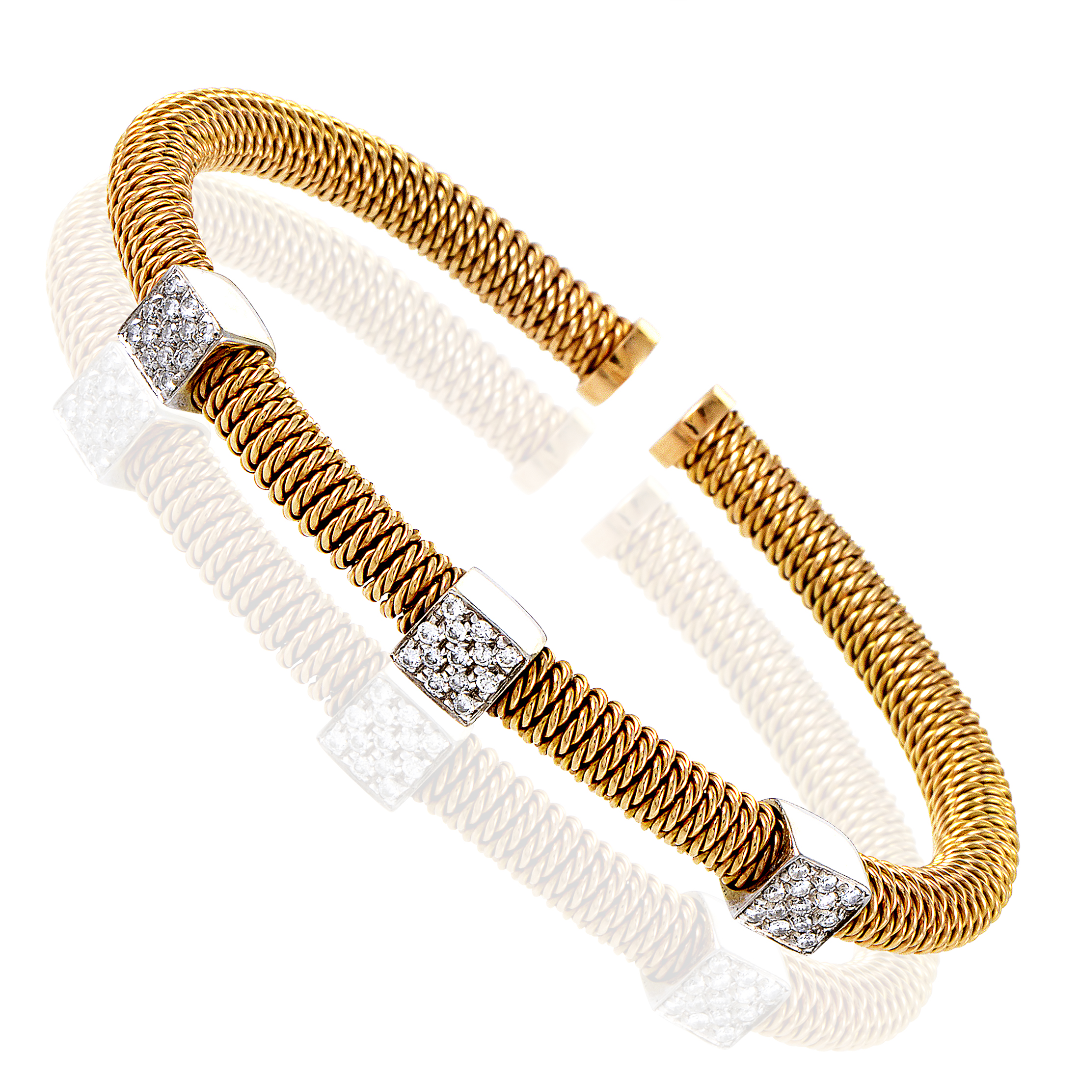 Italian Collection 18K Multi-Tone Gold Diamond Pave Bangle Bracelet