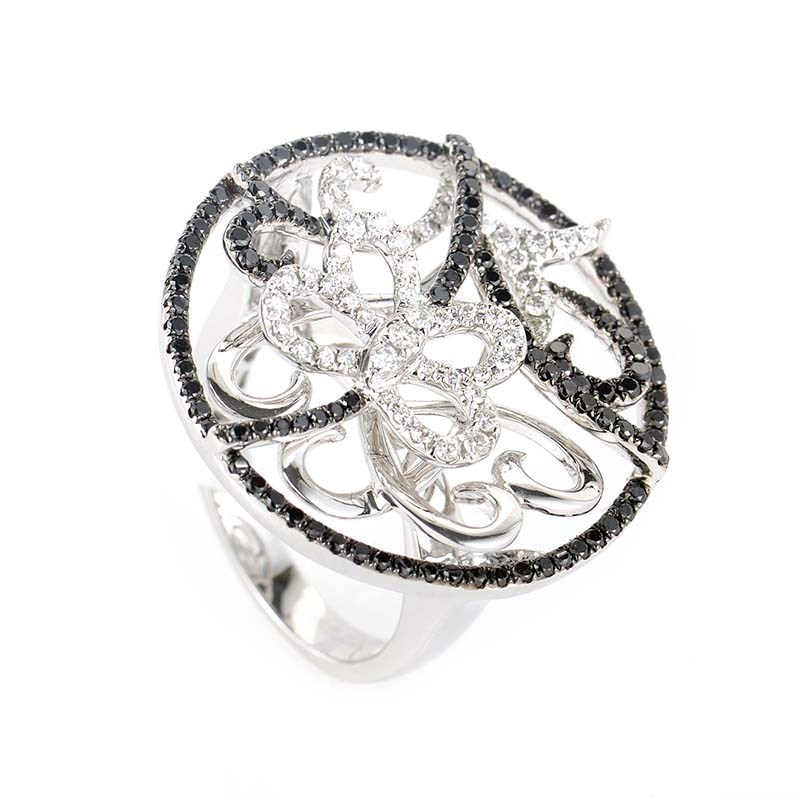 18K White Gold Multi Diamond Butterfly Ring
