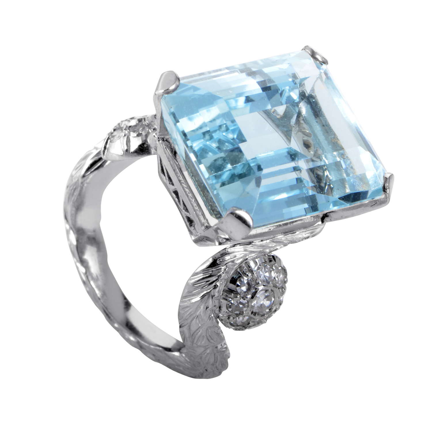 Women's 18K White Gold Diamond & Aquamarine Ring MFC04-072716