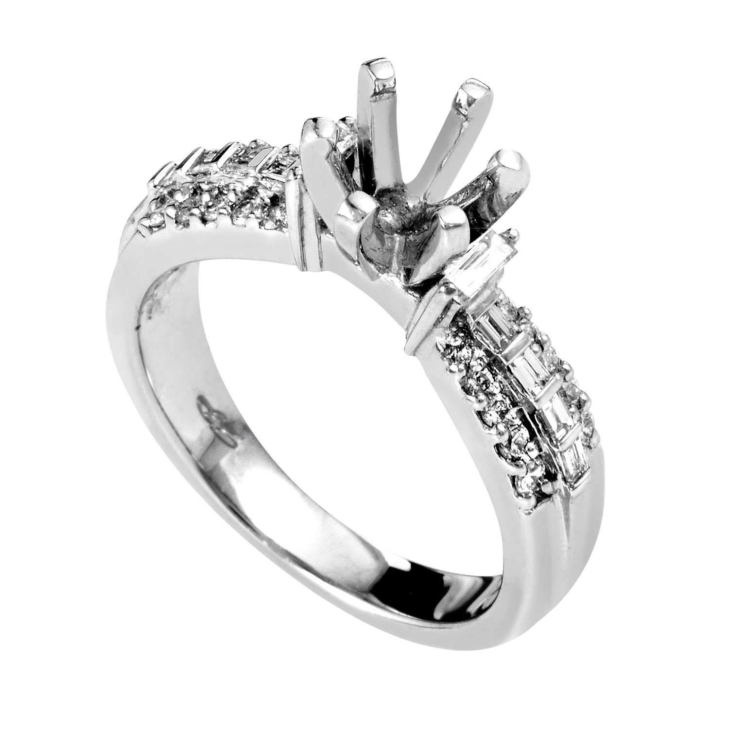Women's Platinum & Diamond Engagement Ring Mounting MFC04-040913