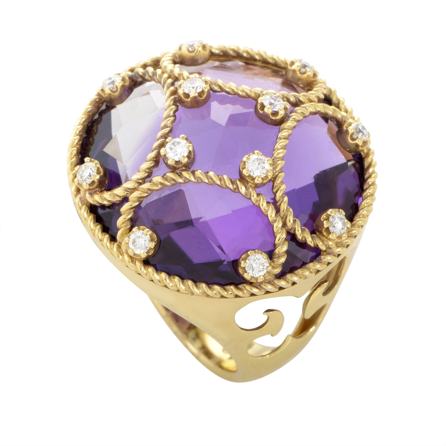 18K Yellow Gold Amethyst and Ring RC8-10969YAM