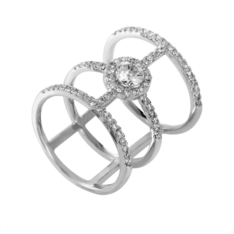 14K White Gold Diamond Band Ring RD4-10245W