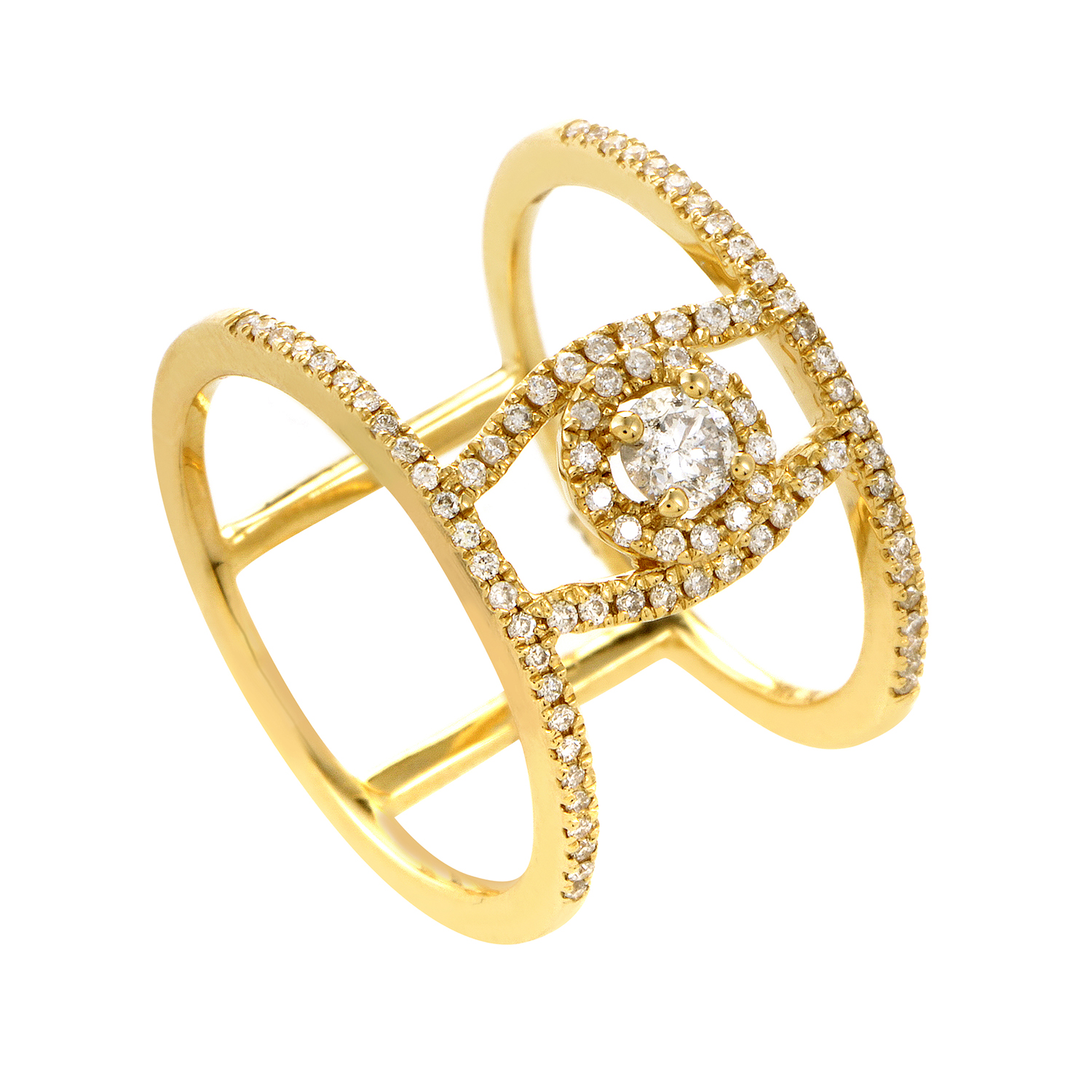14K Yellow Gold Diamond Pave Ring RD4-10247Y