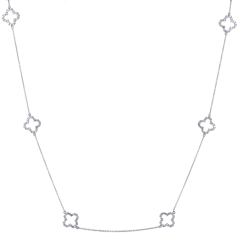 Women's 18K White Gold Diamond Quatrefoil Sautoir Necklace ANK-8895W8