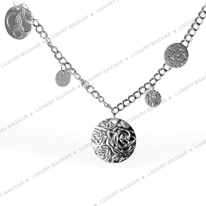 Large Silver Discs Necklace