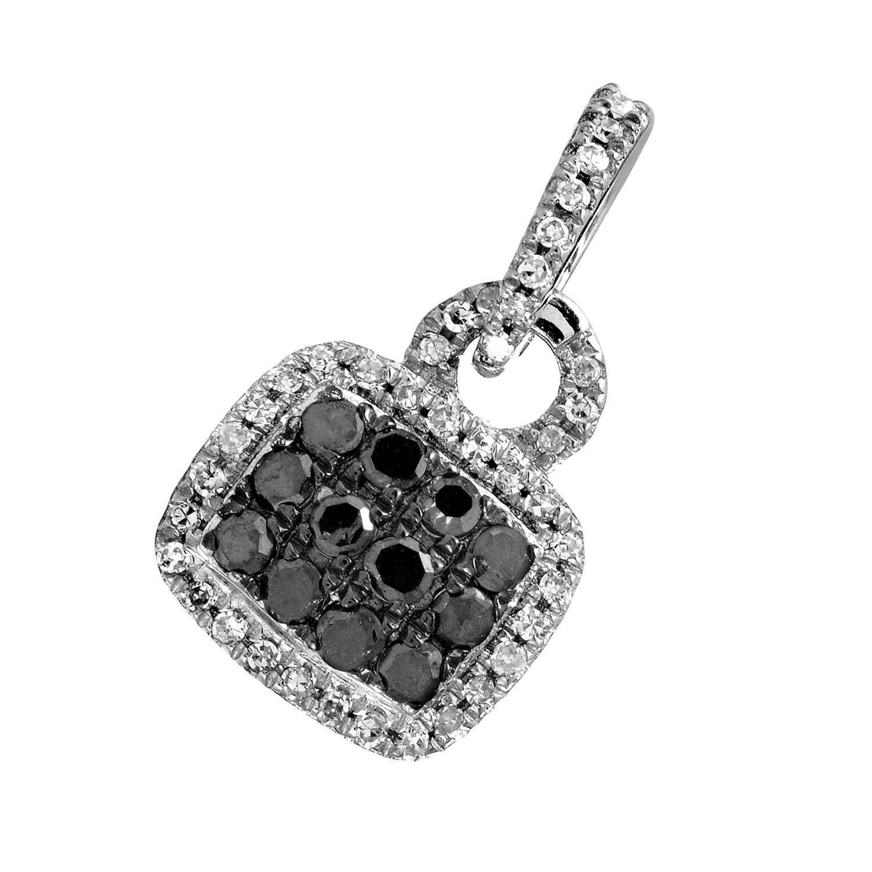 Women's 10K White Gold Black & White Diamond Pave Pendant APD-11370W