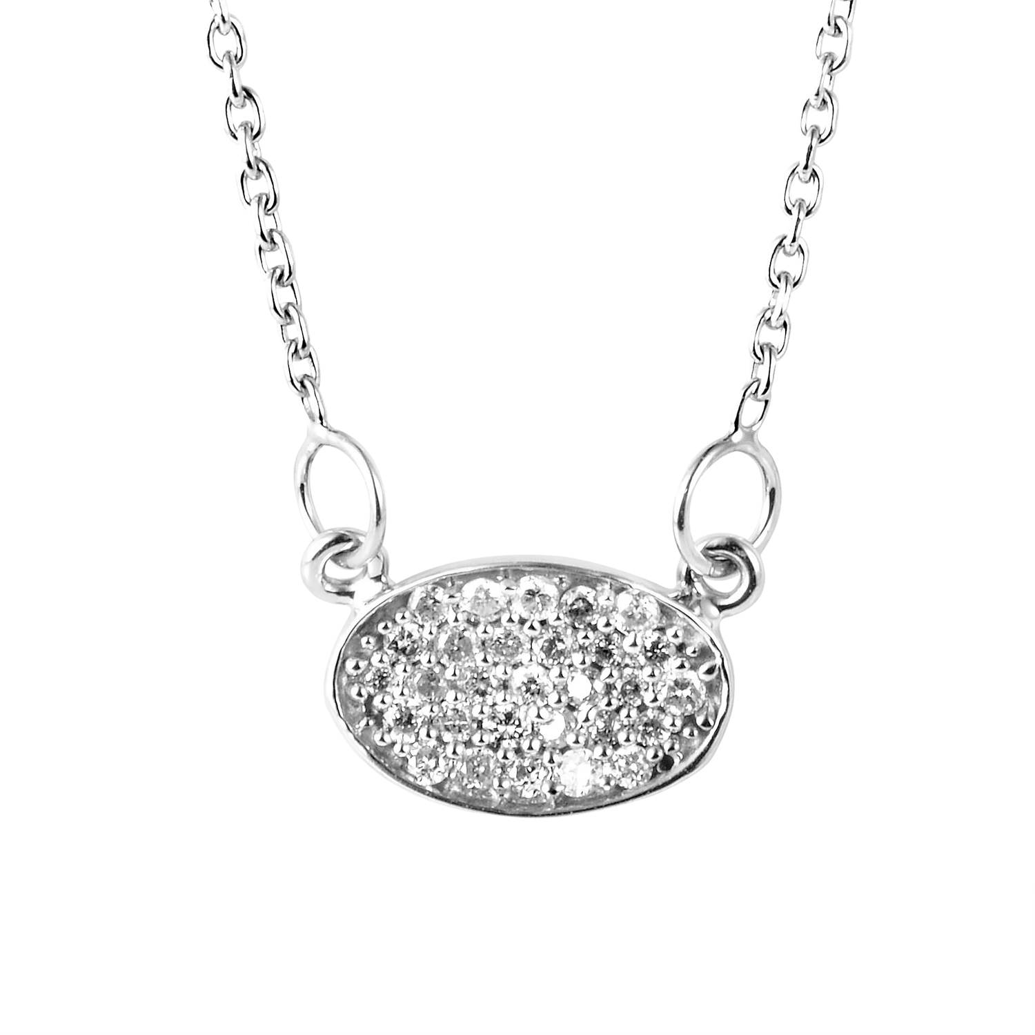 14K White Gold Diamond Pave Pendant Necklace PD4-151070W