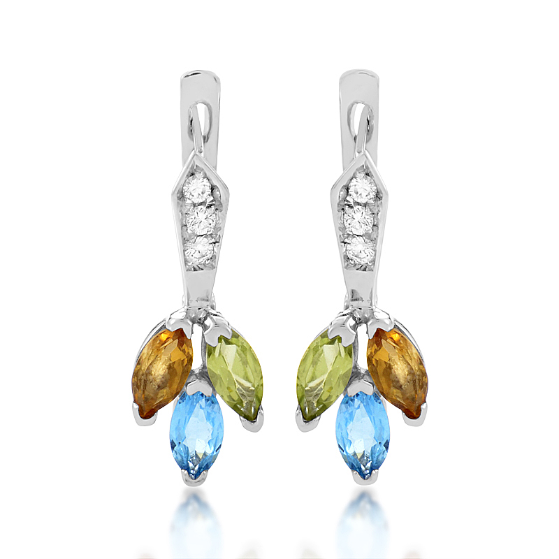 14K White Gold Multi-Gem & Diamond Dangle Earrings PSB05-011314