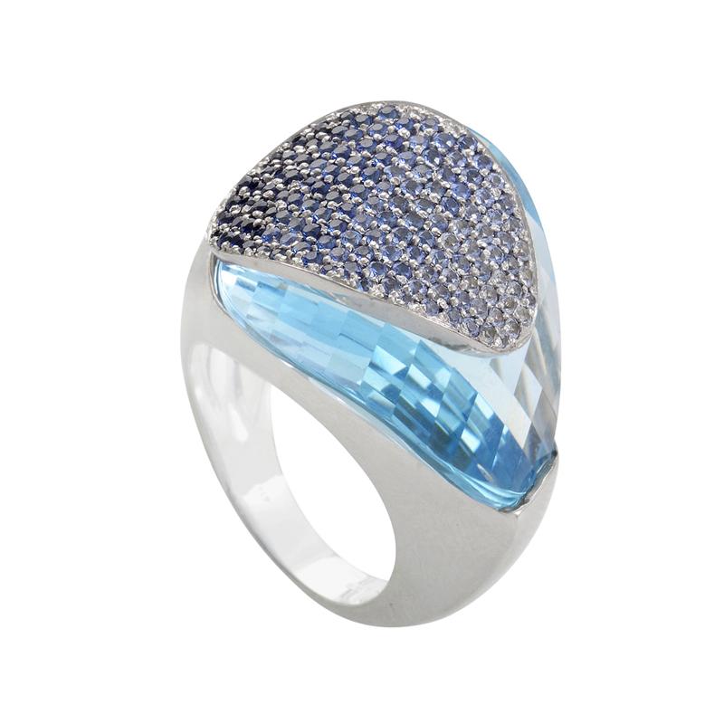 18K White Gold Topaz & Sapphire Pave Ring LF8-003299WG