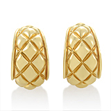 Estate Chaumet 18K Yellow Gold Lattice Huggie Earrings