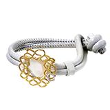 Estate LeaderLine 18K Yellow Gold Mother of Pearl & Diamond Leather Bracelet