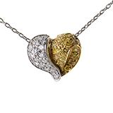 Pendants 18K White and Yellow Gold Diamond Heart Pendant Necklace